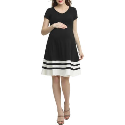 Kimi And Kai Theresa Colorblock Maternity Skater Dress, Black