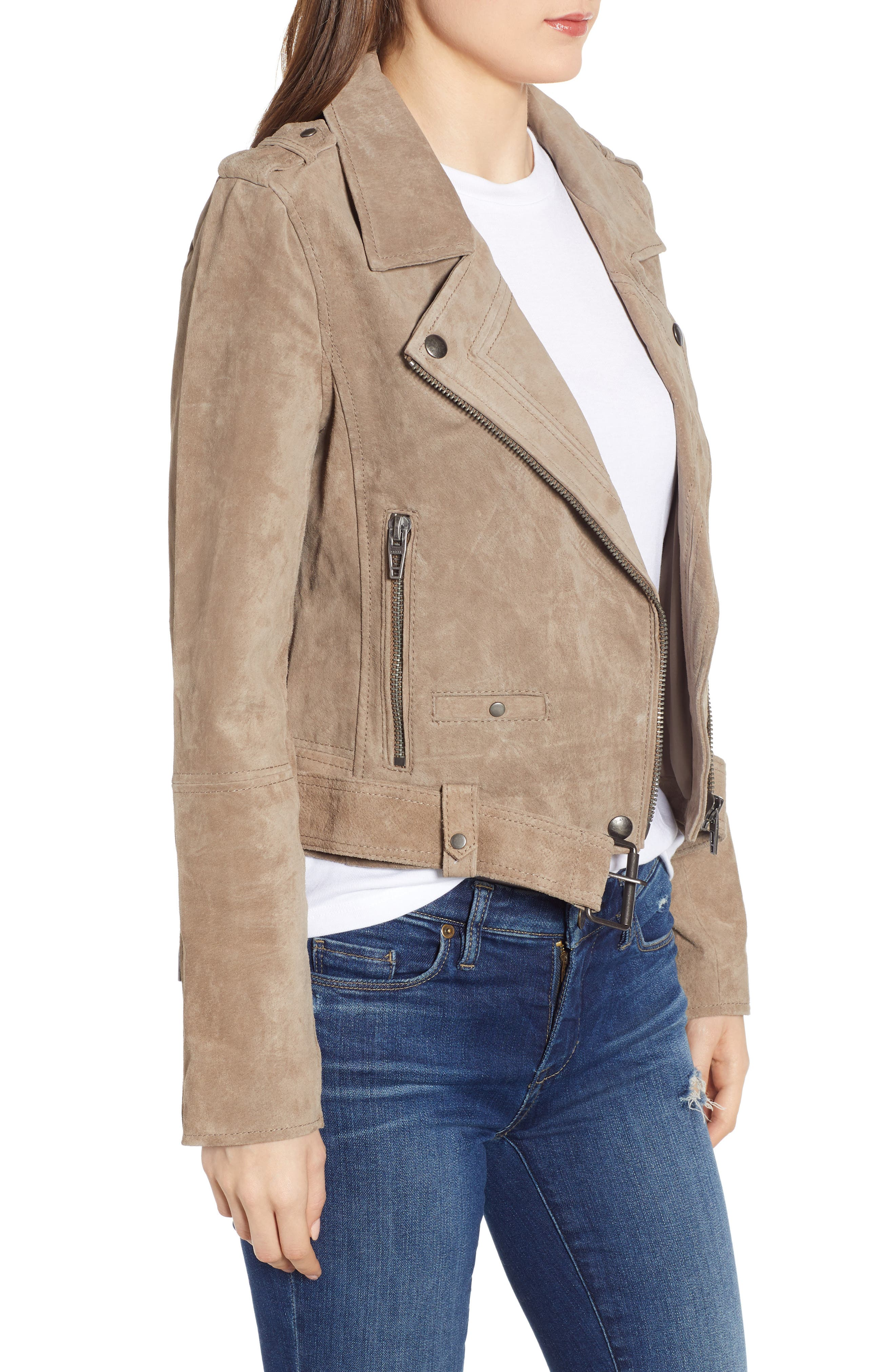 ,                             Morning Suede Moto Jacket,                             Alternate thumbnail 4, color,                             FRENCH TAUPE
