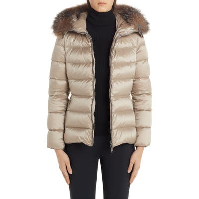 Moncler Tati Belted Down Puffer Coat With Removable Genuine Fox Fur Trim, (fits like 6-8 US) - Beige