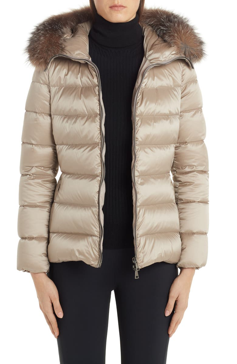 MONCLER Tati Belted Down Puffer Coat with Removable Genuine Fox Fur Trim, Main, color, CHAMPAIGN