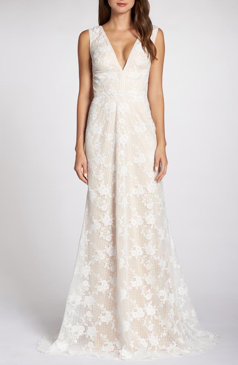 TADASHI SHOJI V-Neck Lace Wedding Dress, Main, color, IVORY/ PETAL