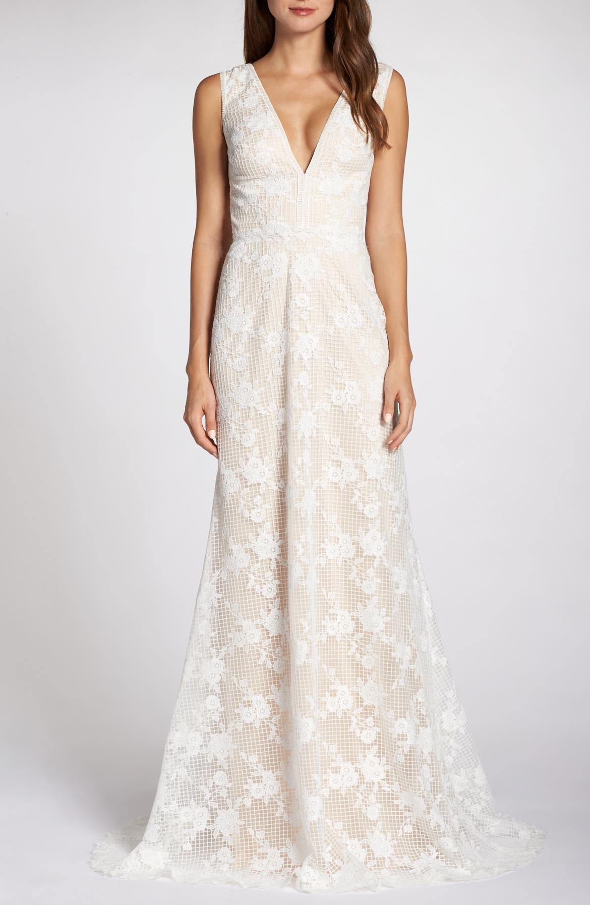TADASHI SHOJI V-Neck Lace Wedding Dress, Main, color, IVORY/ PETAL