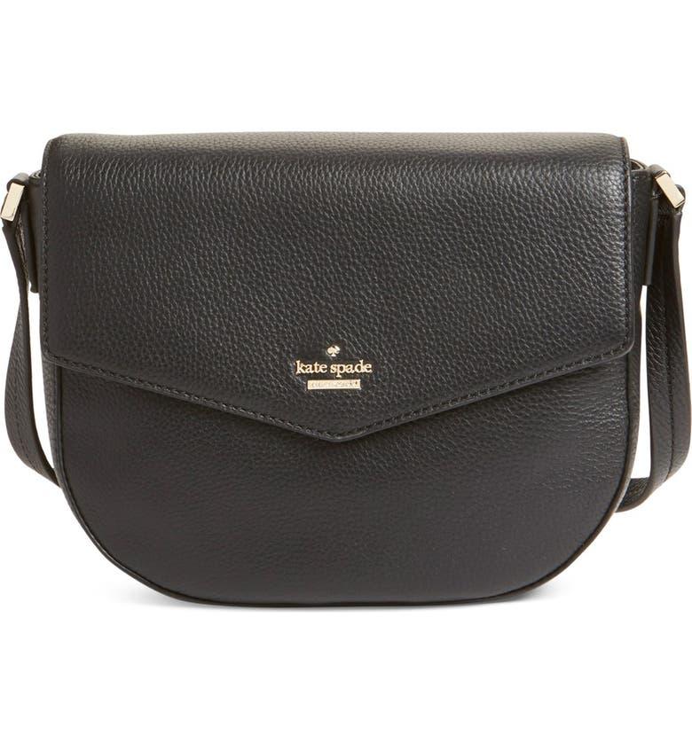 KATE SPADE NEW YORK 'spencer court - lavinia' leather crossbody bag, Main, color, BLACK
