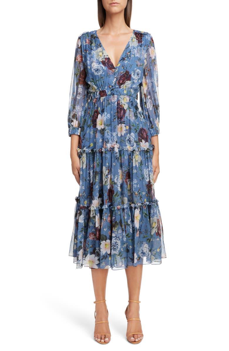 ERDEM Floral Silk Tiered Midi Dress, Main, color, 400