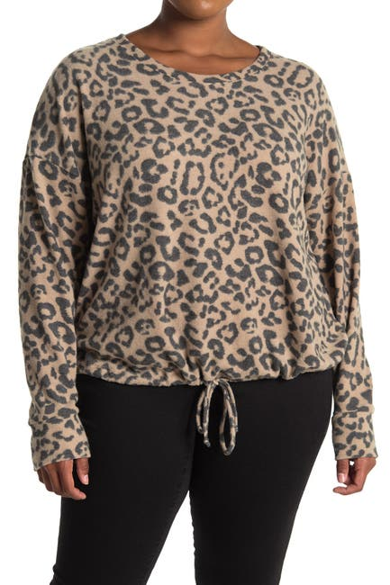 Image of Socialite Long Sleeve Leopard Print Cozy Pullover Sweater
