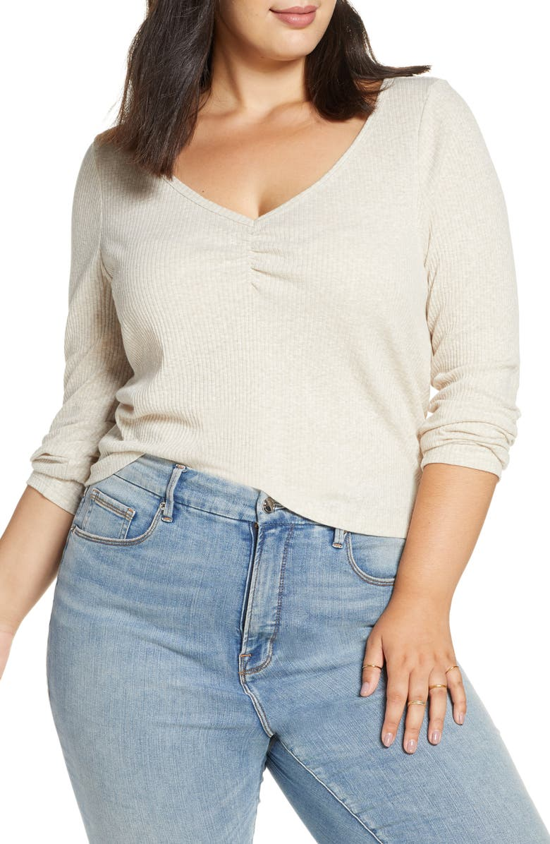 BP. Cinch Front Ribbed Tee, Main, color, BEIGE OATMEAL HEATHER