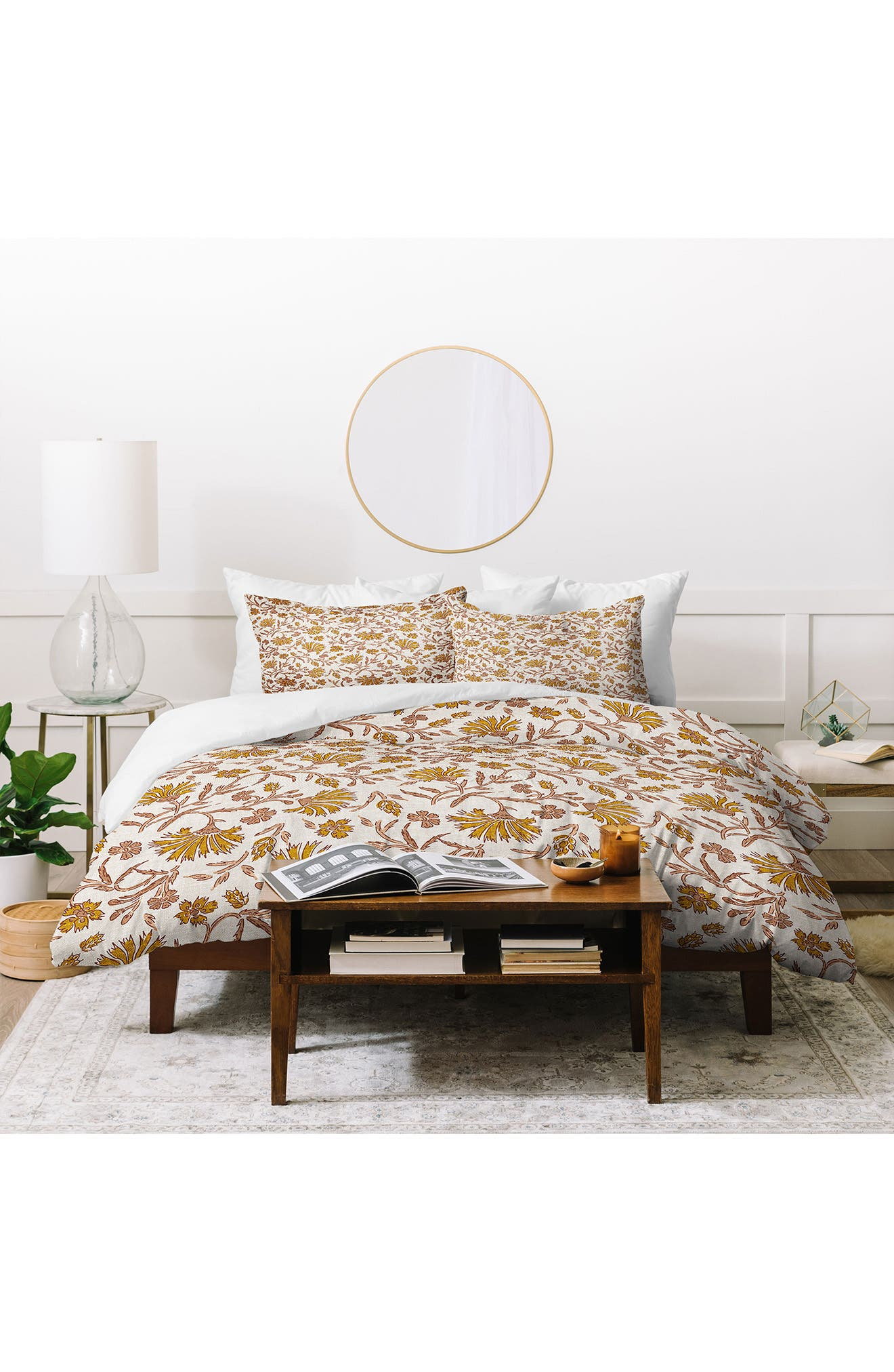 Sunny-hued flowers pattern a standout duvet-cover set that will bring instant eye-catching style to your bedroom. Style Name: Deny Designs Floral Duvet Cover & Sham Set. Style Number: 6083329. Available in stores.