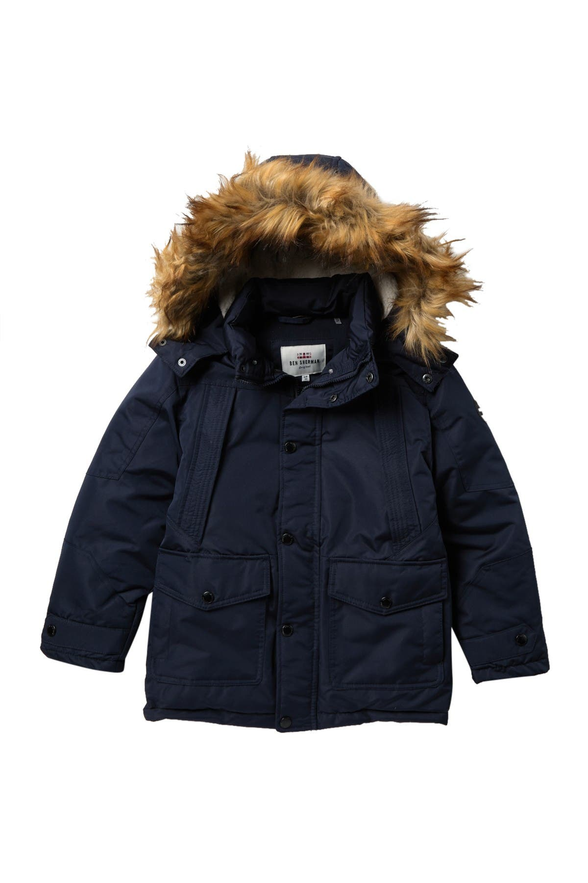 Image of Ben Sherman Parka with Removable Faux Fur Hood