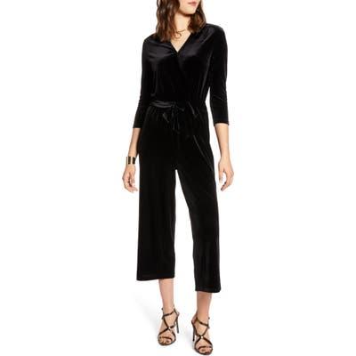 Halogen Velvet Crop Jumpsuit, Black