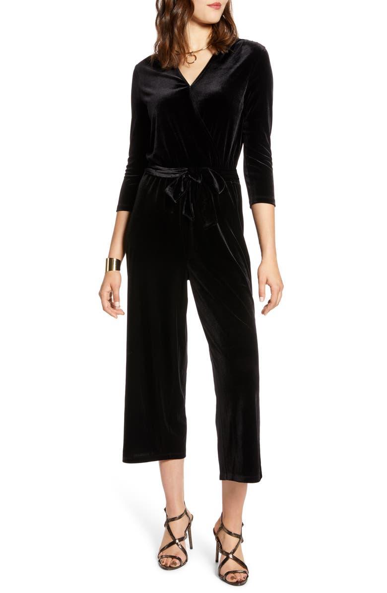 HALOGEN<SUP>®</SUP> Velvet Crop Jumpsuit, Main, color, BLACK