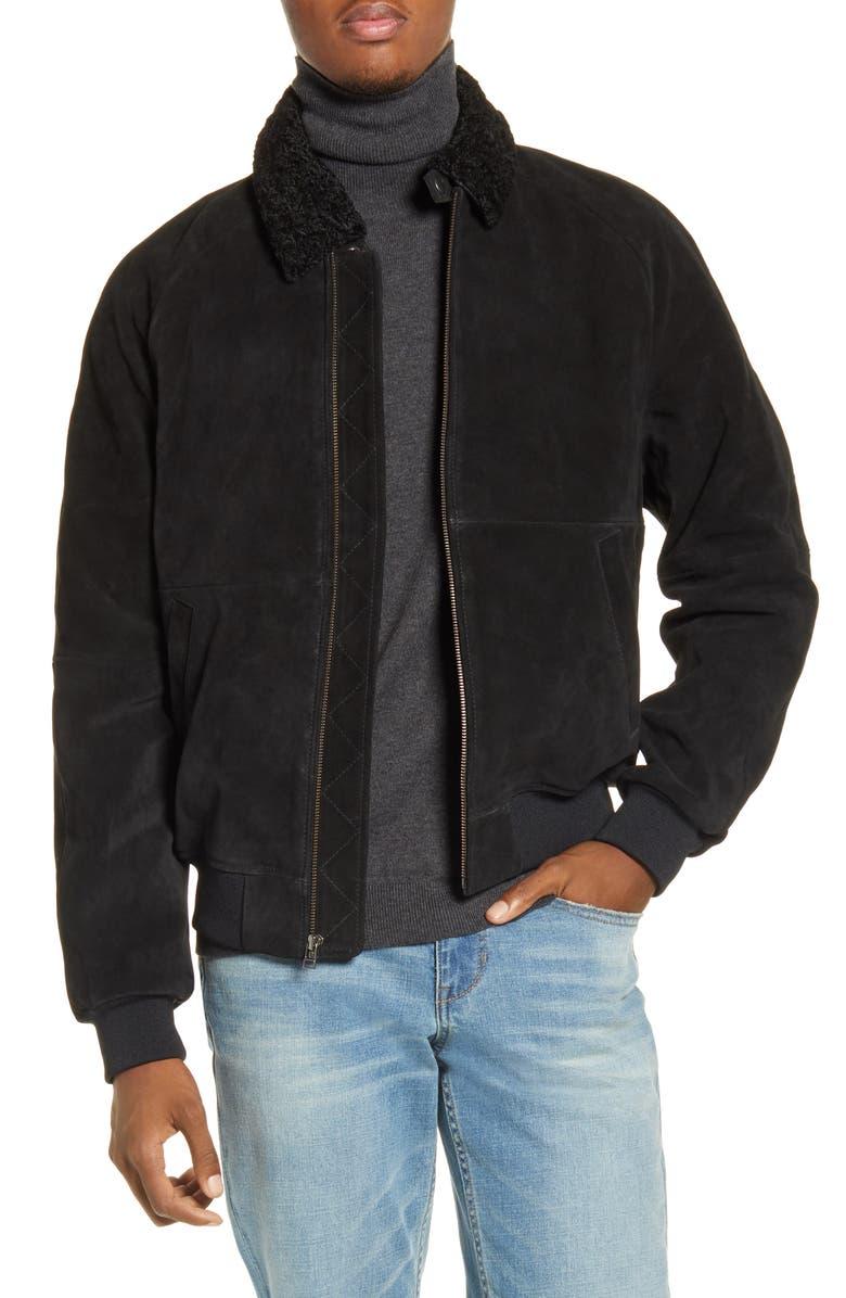 BP. x Alex Costa Fleece Collar Suede Bomber Jacket, Main, color, BLACK ROCK