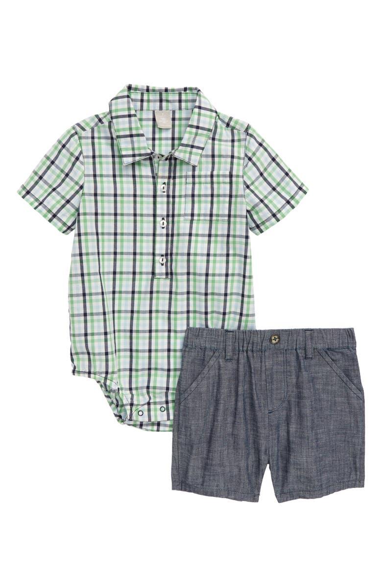 NORDSTROM Collared Bodysuit & Shorts Set, Main, color, GREEN ZEPHYR PLAID
