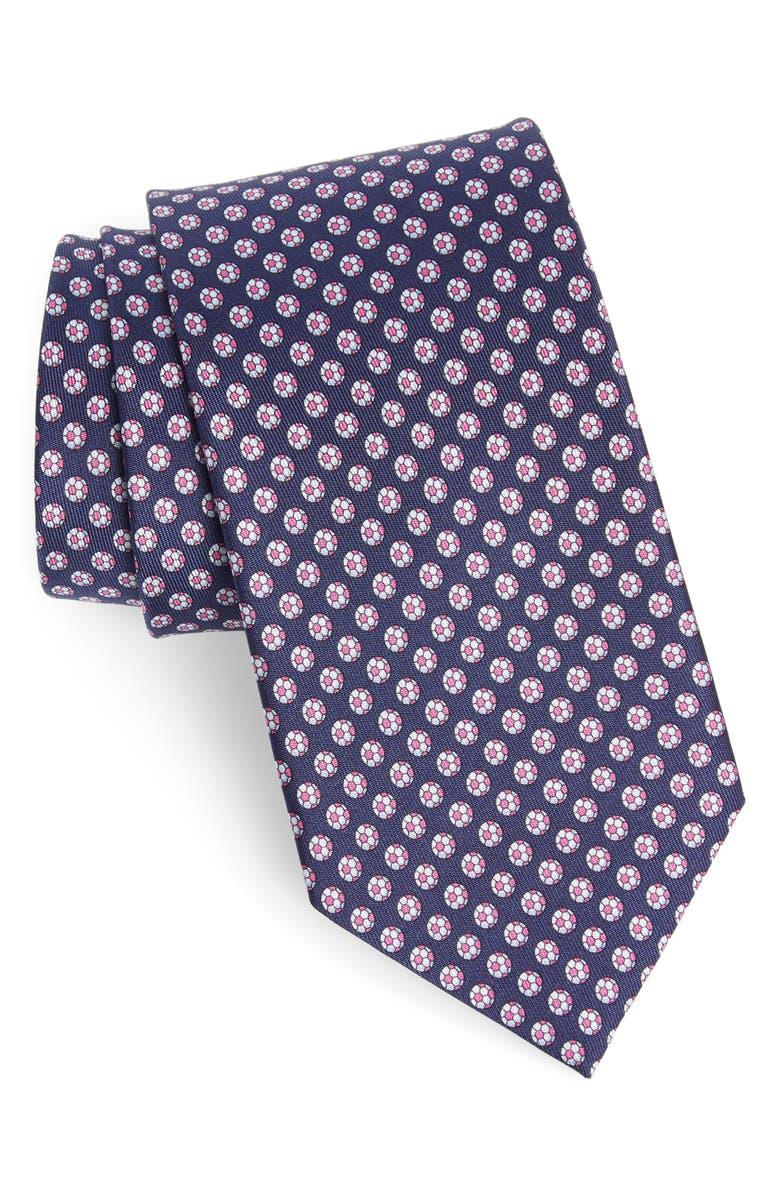 SALVATORE FERRAGAMO Soccer Print Silk Tie, Main, color, 492