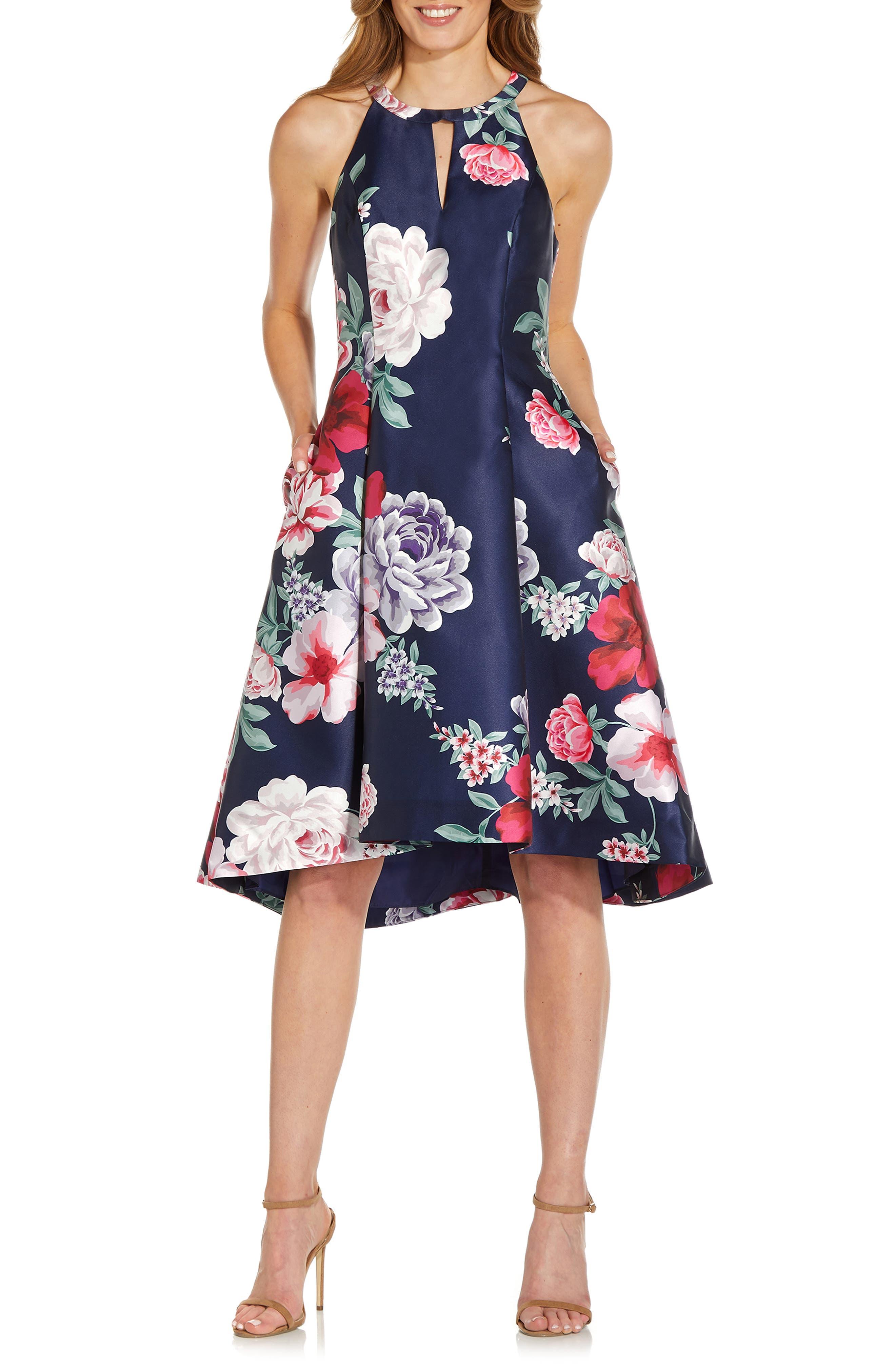 Floral Print Mikado High-Low Cocktail Dress