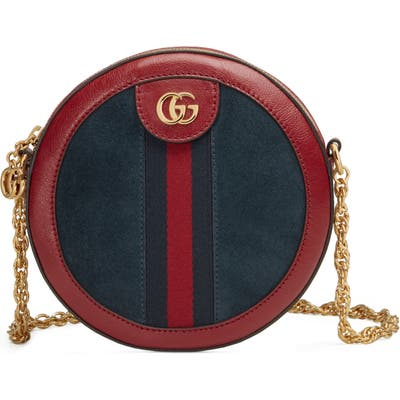 Gucci Ophidia Small Suede & Leather Circle Crossbody Bag - Blue