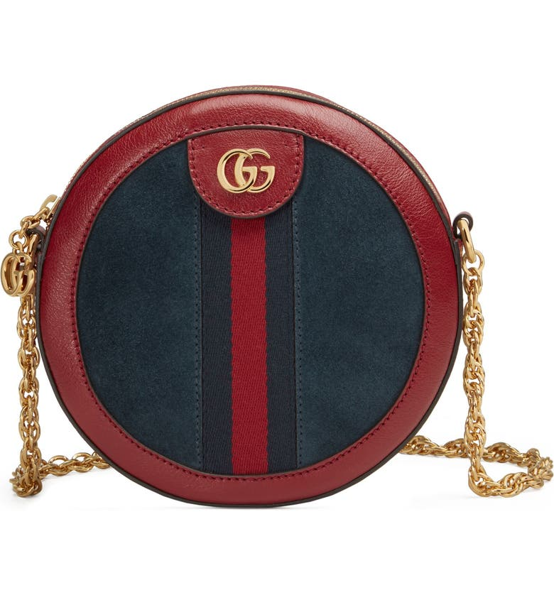 GUCCI Ophidia Small Suede & Leather Circle Crossbody Bag, Main, color, 400
