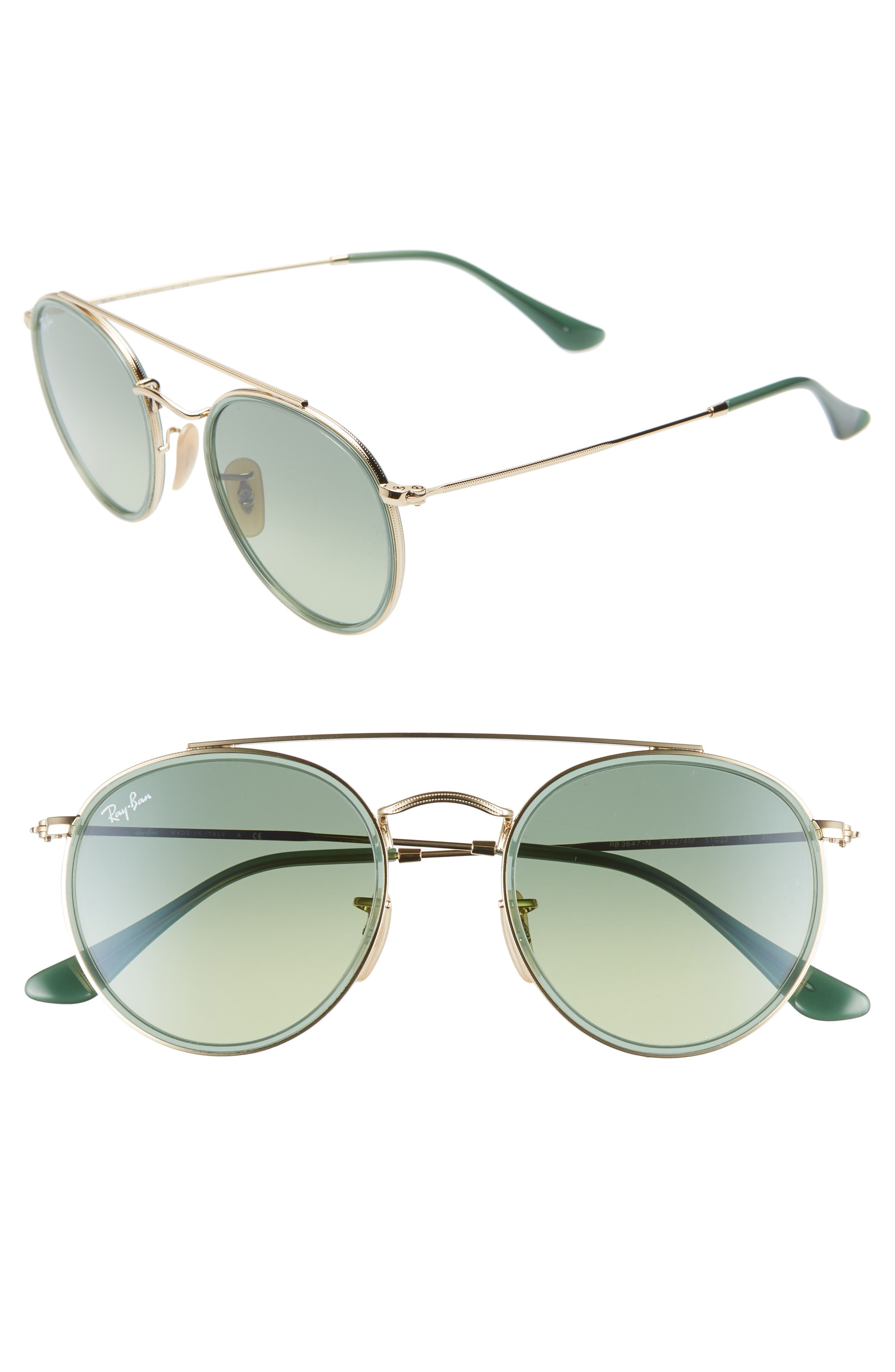 Ray-Ban 51Mm Aviator Gradient Lens Sunglasses - Gold/ Green Gradient
