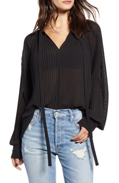 Endless Rose Tops PLEATED CHIFFON BLOUSE