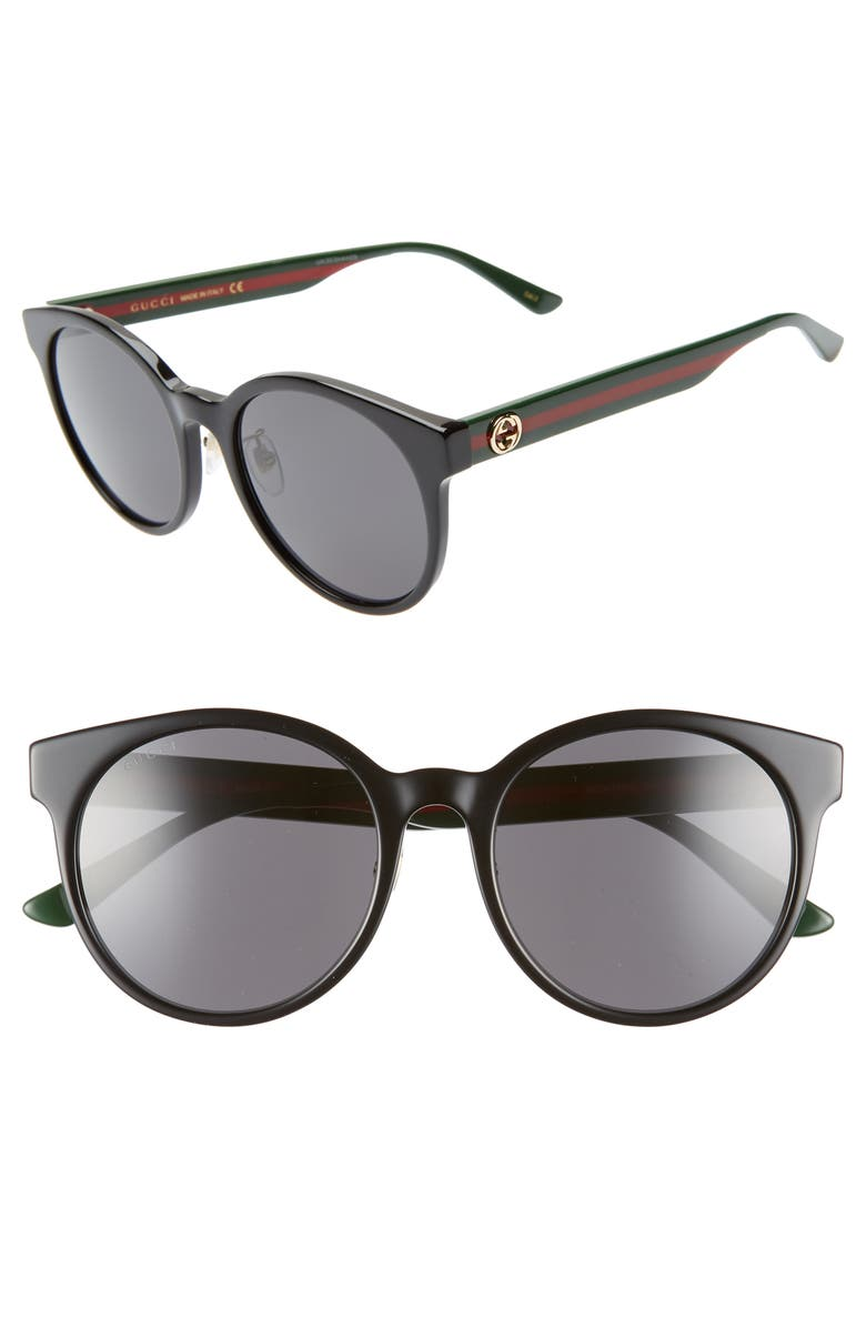GUCCI 55mm Round Sunglasses, Main, color, BLACK/ MULTI/ SOLID GREY