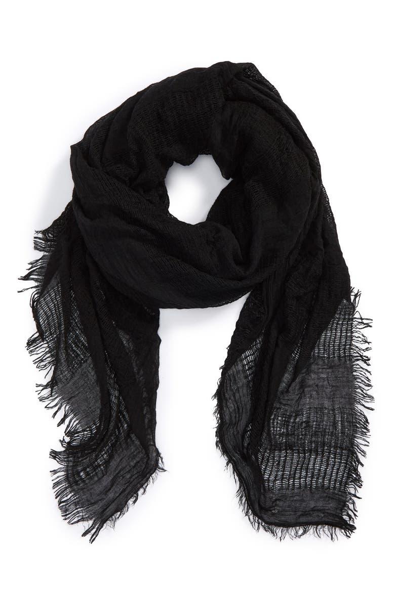 TILDON Open Weave Scarf, Main, color, Black