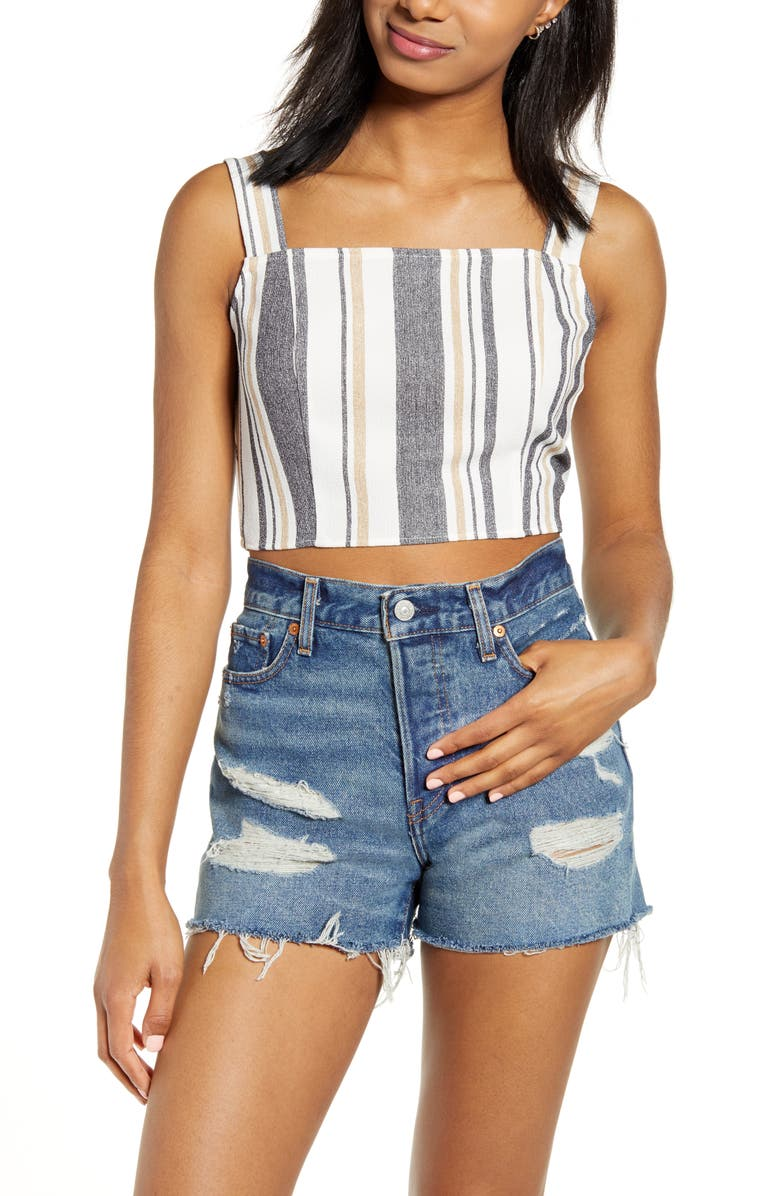 ONE CLOTHING Stripe Crop Top, Main, color, IVORY/ BLACK/ TAUPE