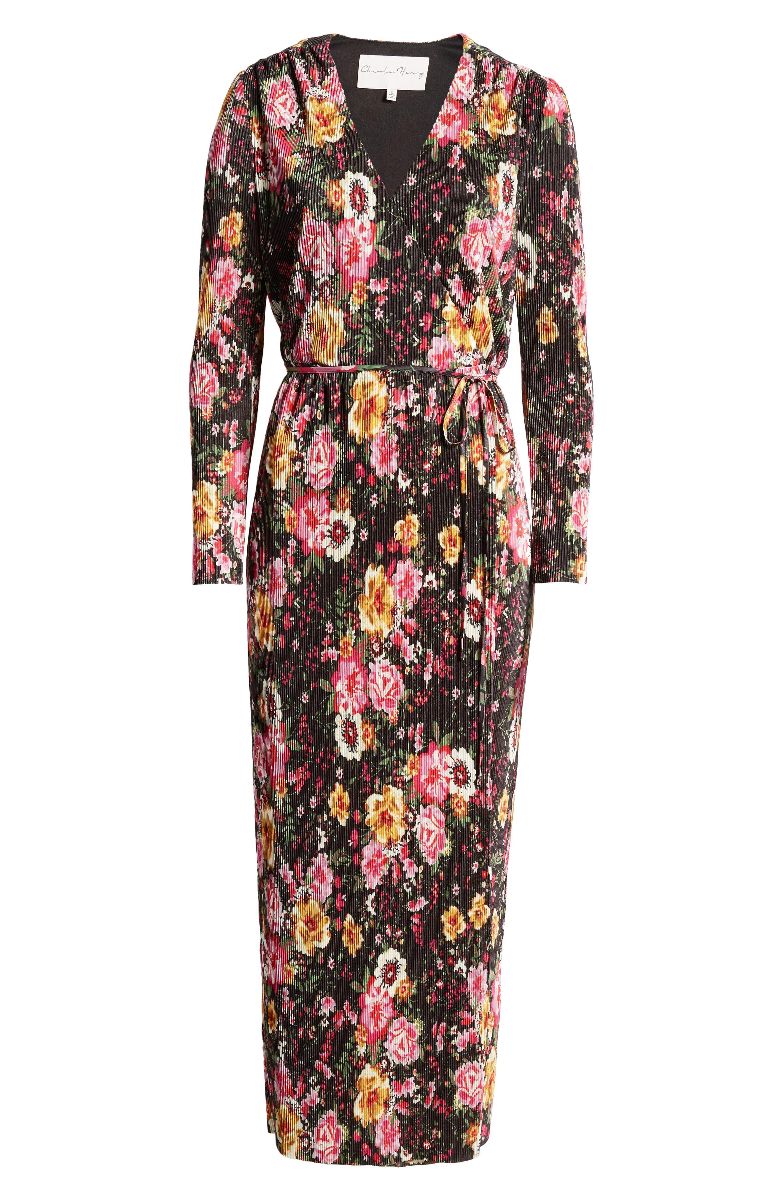 Long Sleeve Floral Print Faux Wrap Maxi Dress