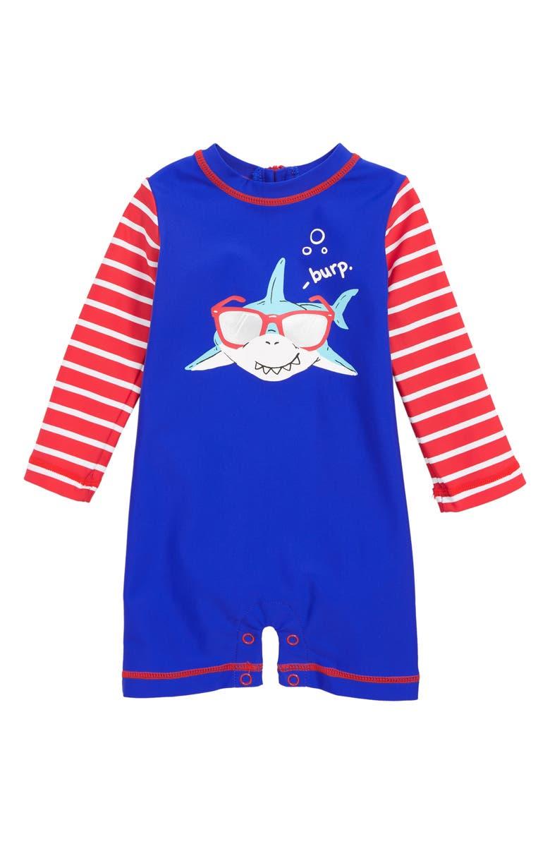 HATLEY Cool Shark One-Piece Rashguard Swimsuit, Main, color, 400