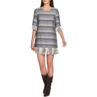1.state Rustic Tweed Fringe Hem Dress, Blue