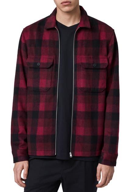 Allsaints Medora Slim Fit Plaid Zip Front Jacket In Red