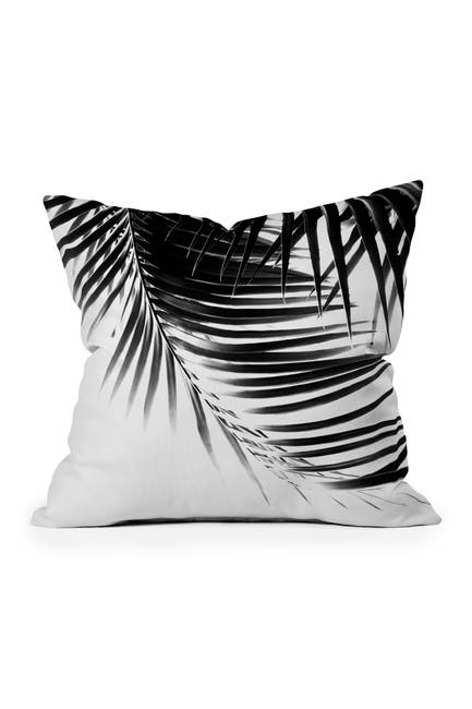 Image of Deny Designs Anita & Bella Art Palm Leaves BW Vibes Square Throw Pillow
