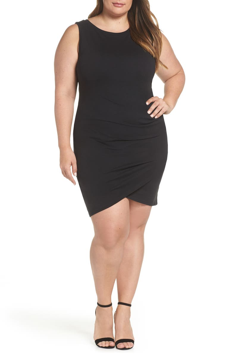LEITH Ruched Sheath Dress, Main, color, BLACK