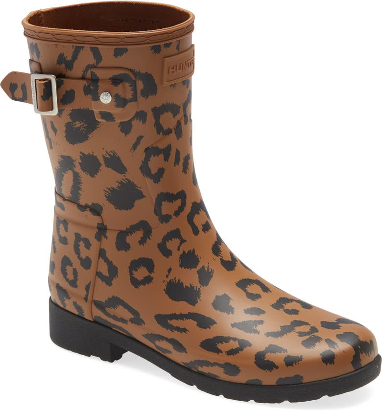HUNTER Original Leopard Print Refined Short Waterproof Rain Boot, Main, color, THICKET/ BLACK RUBBER