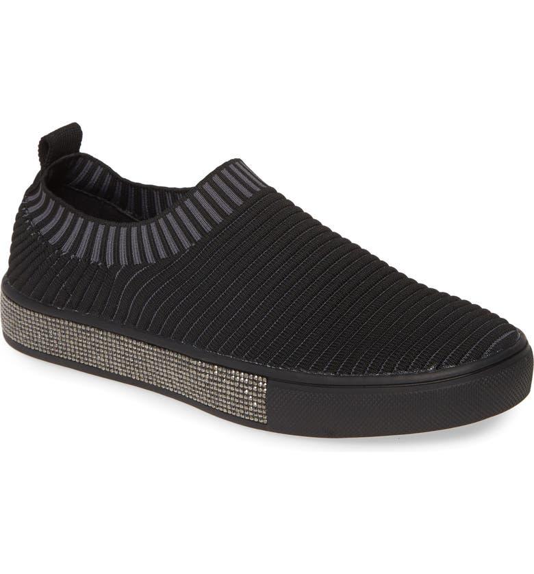 BERNIE MEV. Sparky Slip-On Sneaker, Main, color, BLACK STRIPE FABRIC