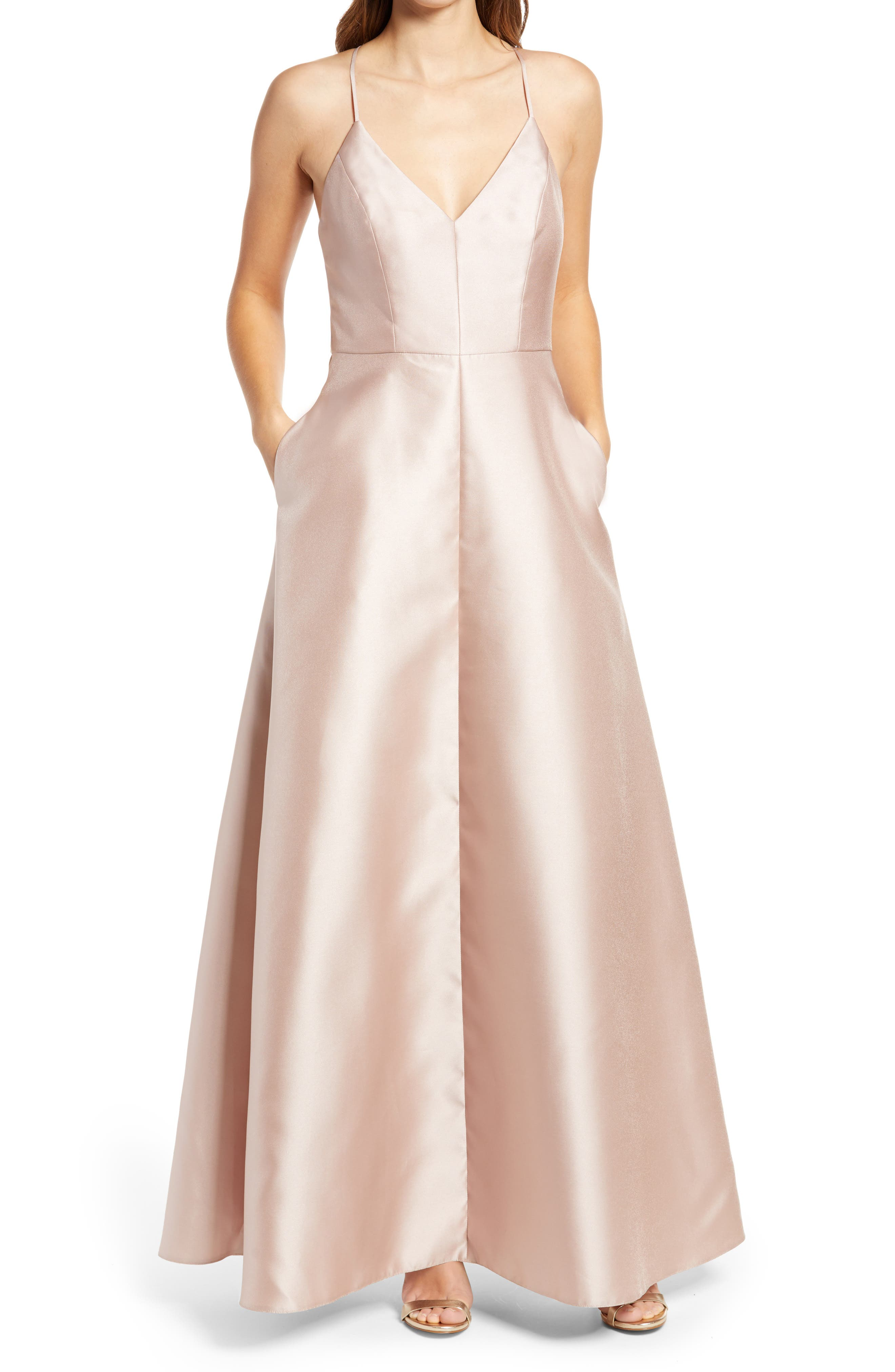 Crossback Satin Twill A-Line Gown