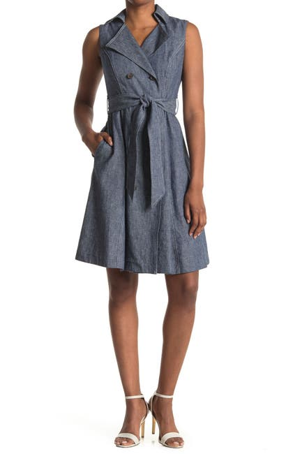 Image of Maggy London Sleeveless Double Breasted Linen Blend Dress