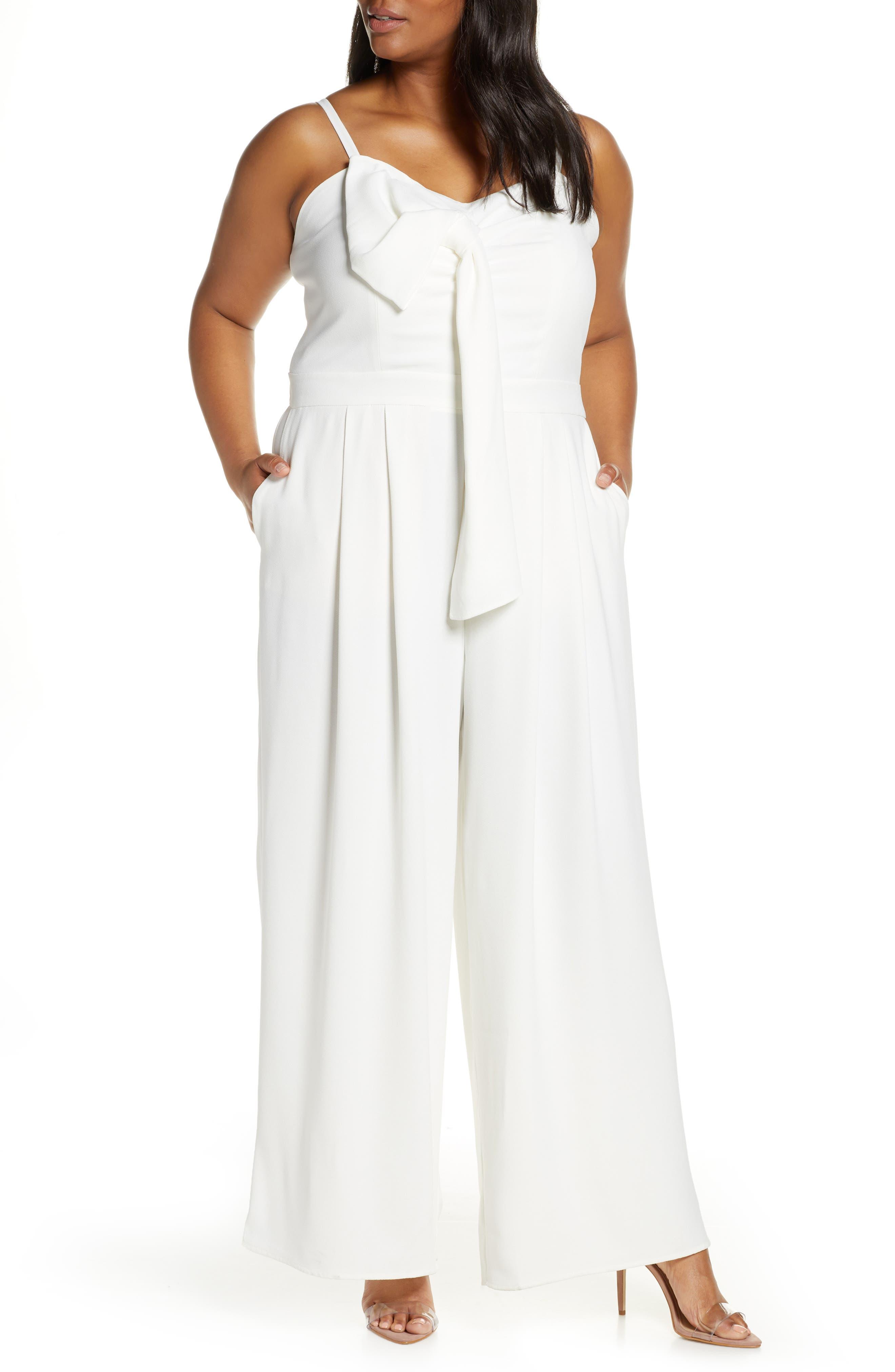 70s Jumpsuit | Disco Jumpsuits – Sequin, Striped, Gold, White, Black Plus Size Womens Eloquii Tie Front Wide Leg Jumpsuit Size 26W - White $119.95 AT vintagedancer.com