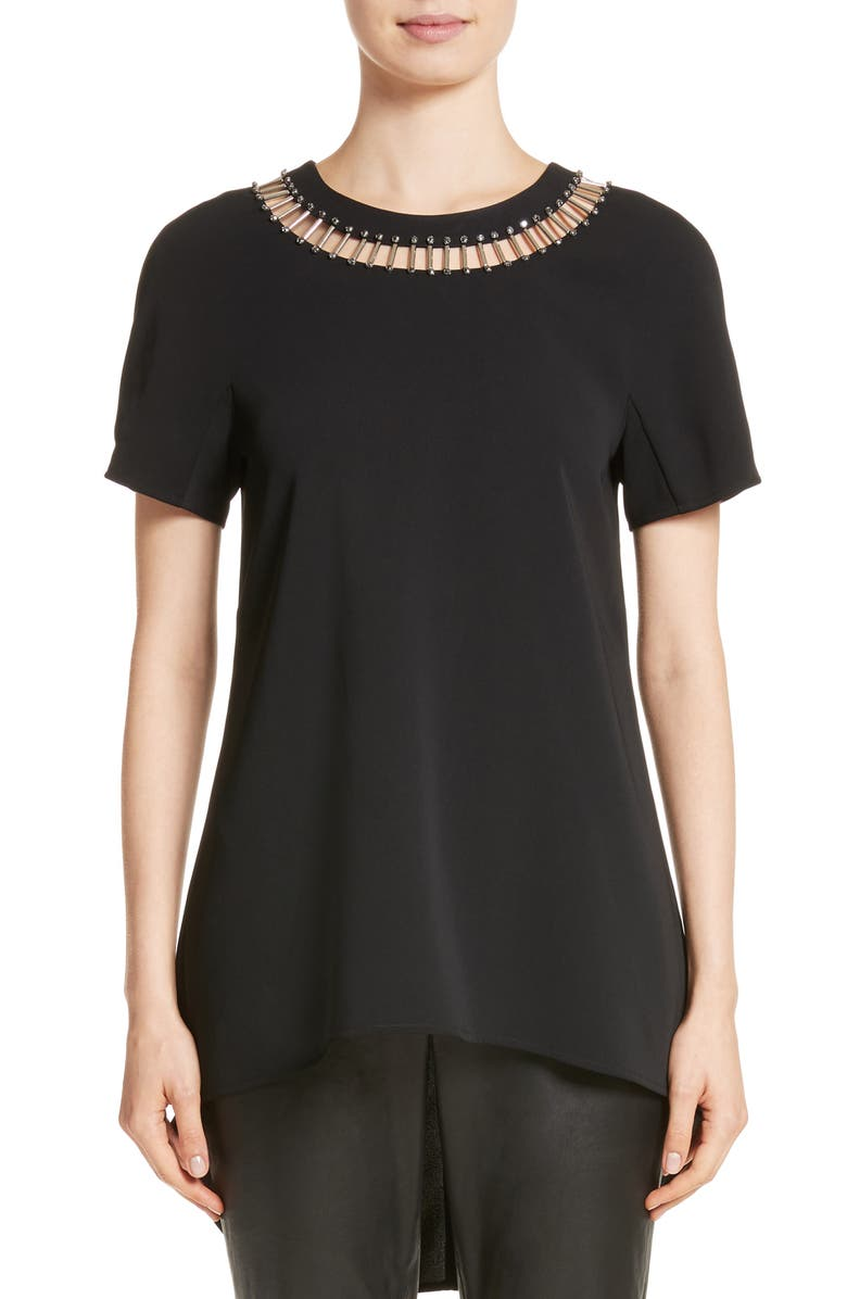 ST. JOHN COLLECTION Embellished High/Low Top, Main, color, CAVIAR