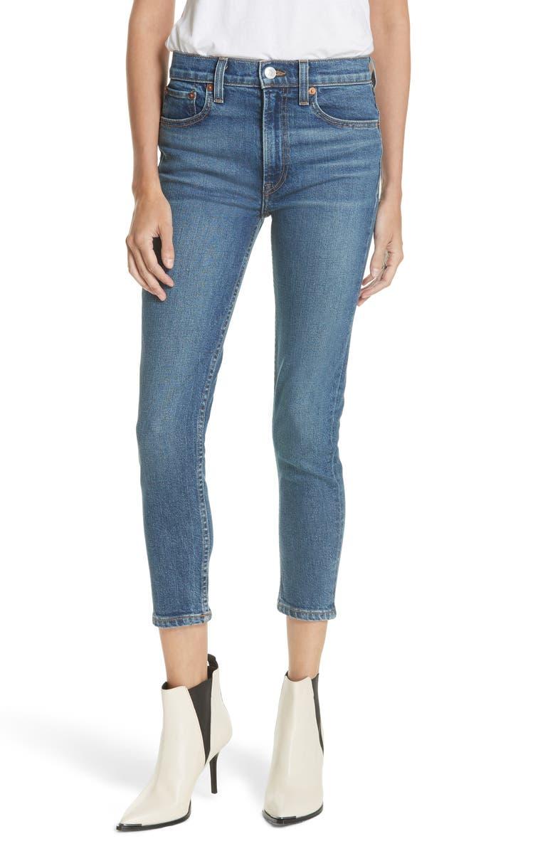 Re Done Originals High Waist Stretch Crop Jeans Mid 70s