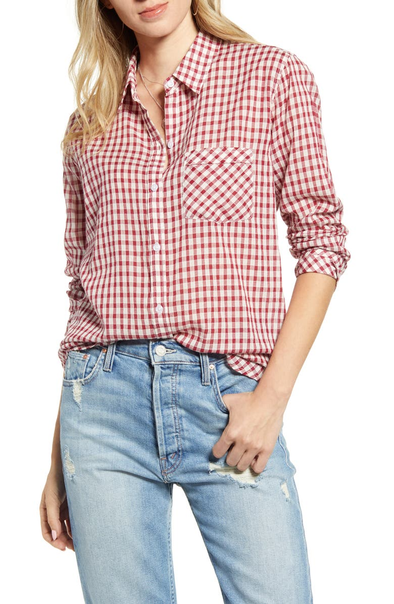 RAILS Farrah Check Shirt, Main, color, SCARLET CHECK