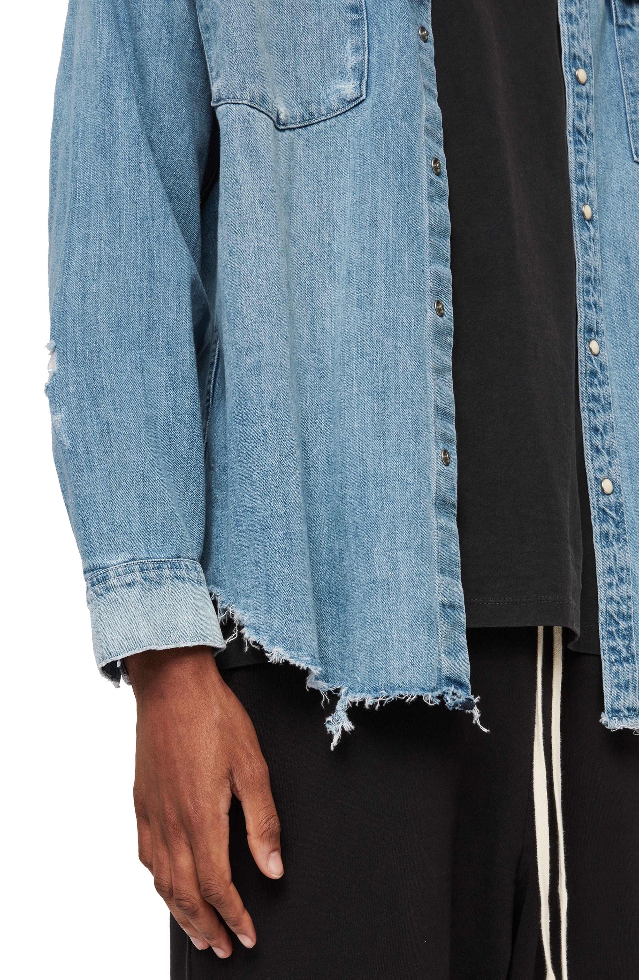 ,                             Intor Oversize Denim Shirt,                             Alternate thumbnail 5, color,                             INDIGO BLUE