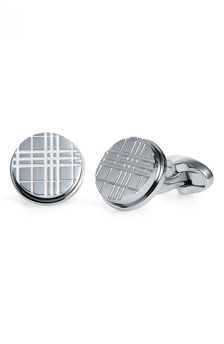 BURBERRY Round Check Cuff Links, Main, color, 040