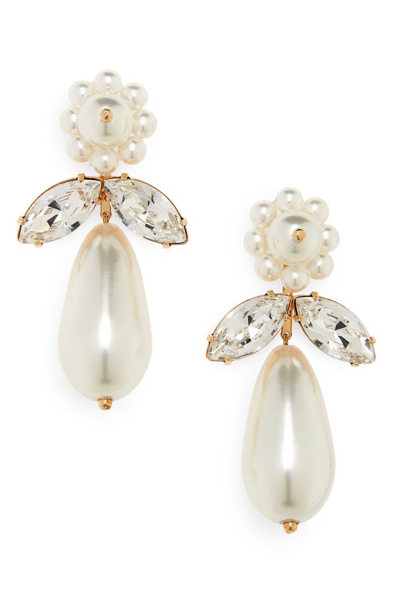 SIMONE ROCHA Clustered Imitation Pearl Drop Earrings, Main, color, PEARL/ CLEAR
