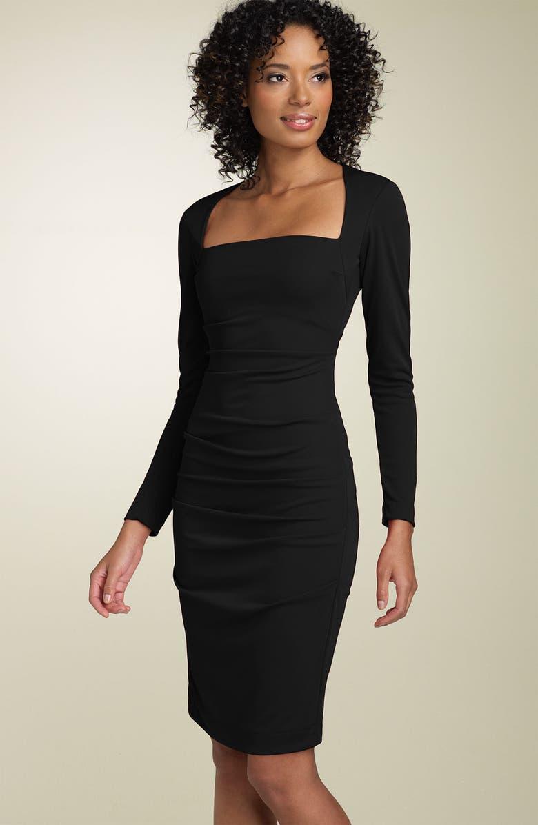 NICOLE MILLER Long Sleeve Matte Jersey Sheath Dress, Main, color, 001