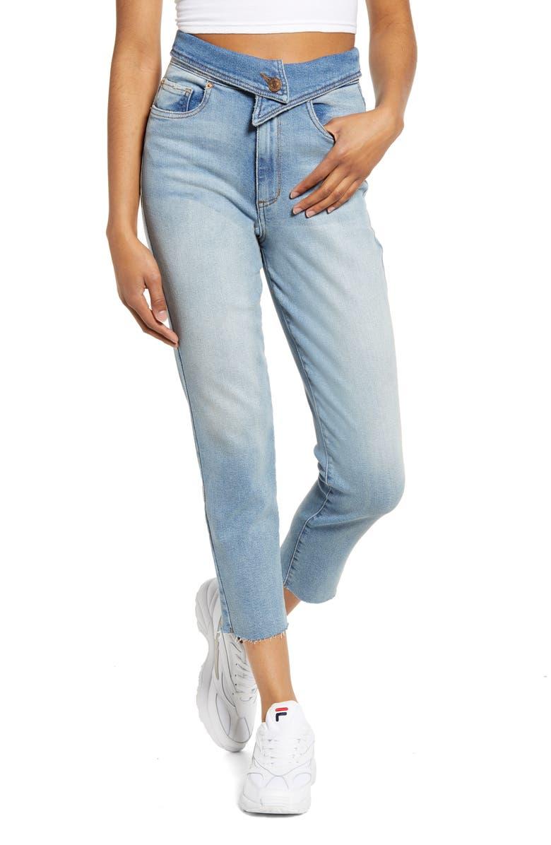 Alicia Foldover Waist Crop Mom Jeans, Main, color, CARAWAY