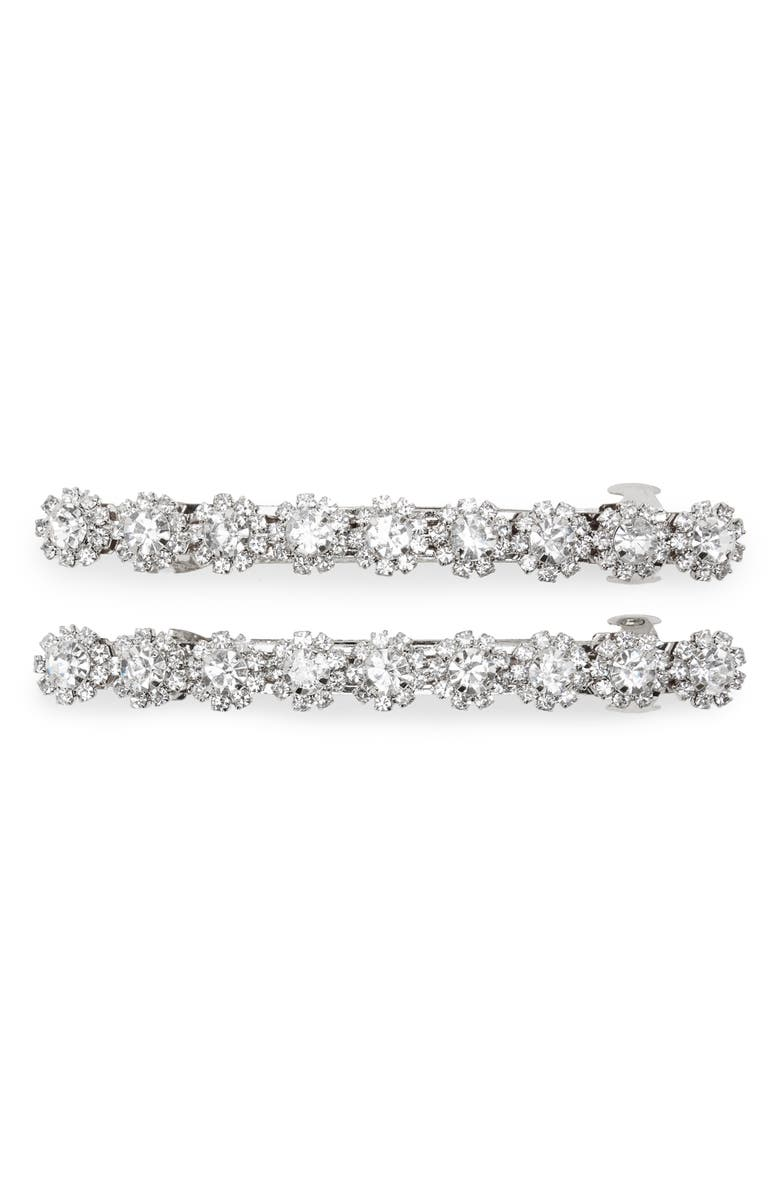 TASHA 2-Pack Small Crystal Barrettes, Main, color, SILVER