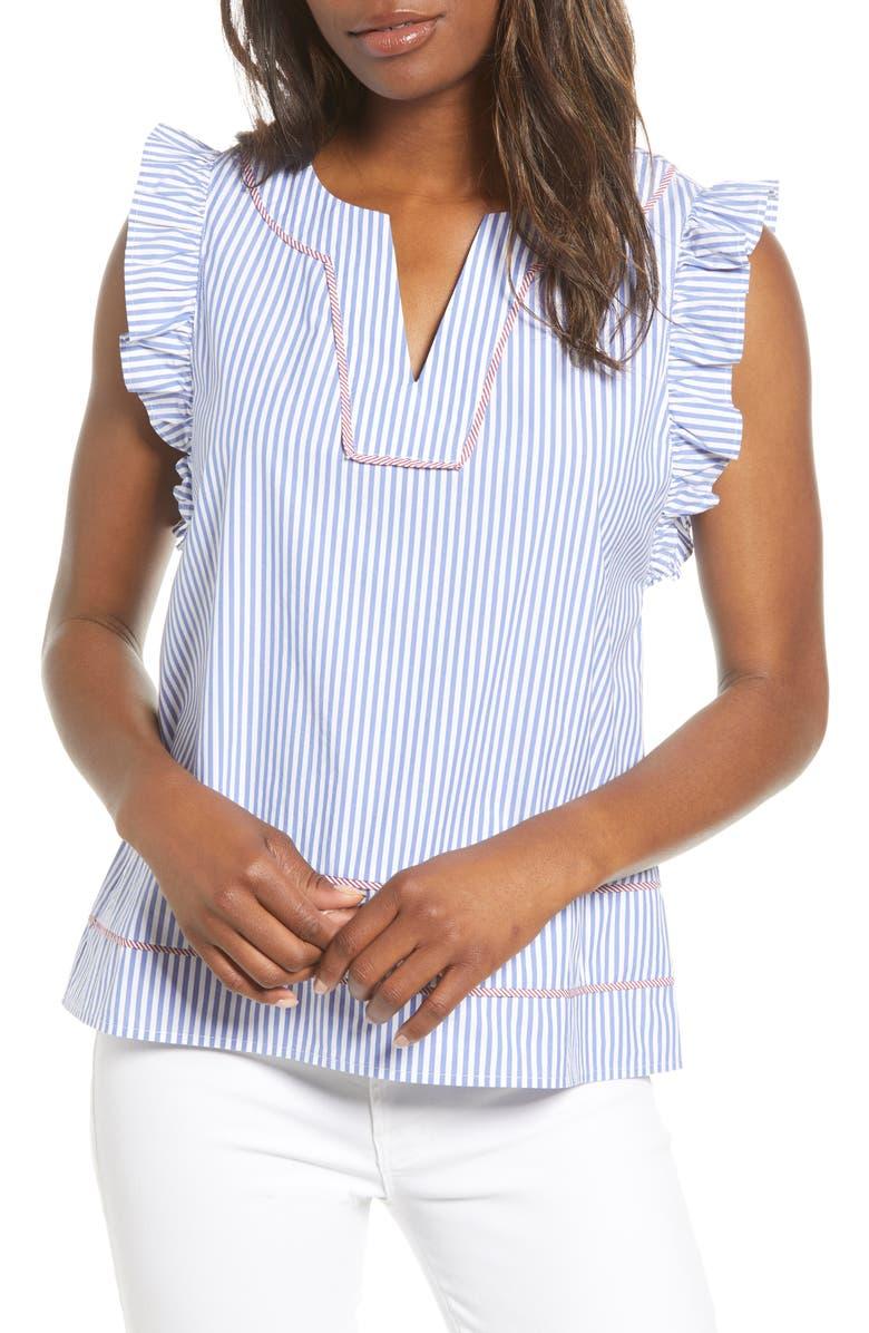VINEYARD VINES Stripe Flutter Sleeve Top, Main, color, MARLIN
