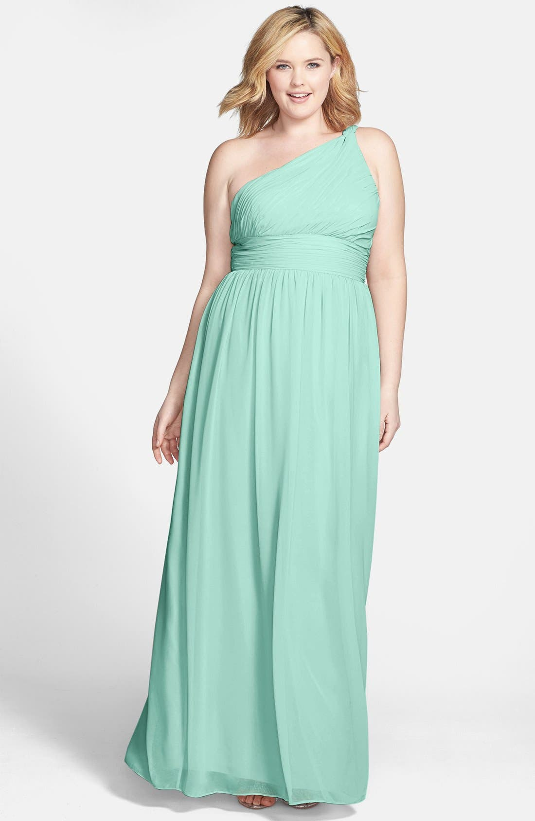 ,                             'Rachel' Ruched One-Shoulder Chiffon Gown,                             Alternate thumbnail 38, color,                             303