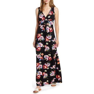 Loveappella Floral Print Maxi Dress, Black