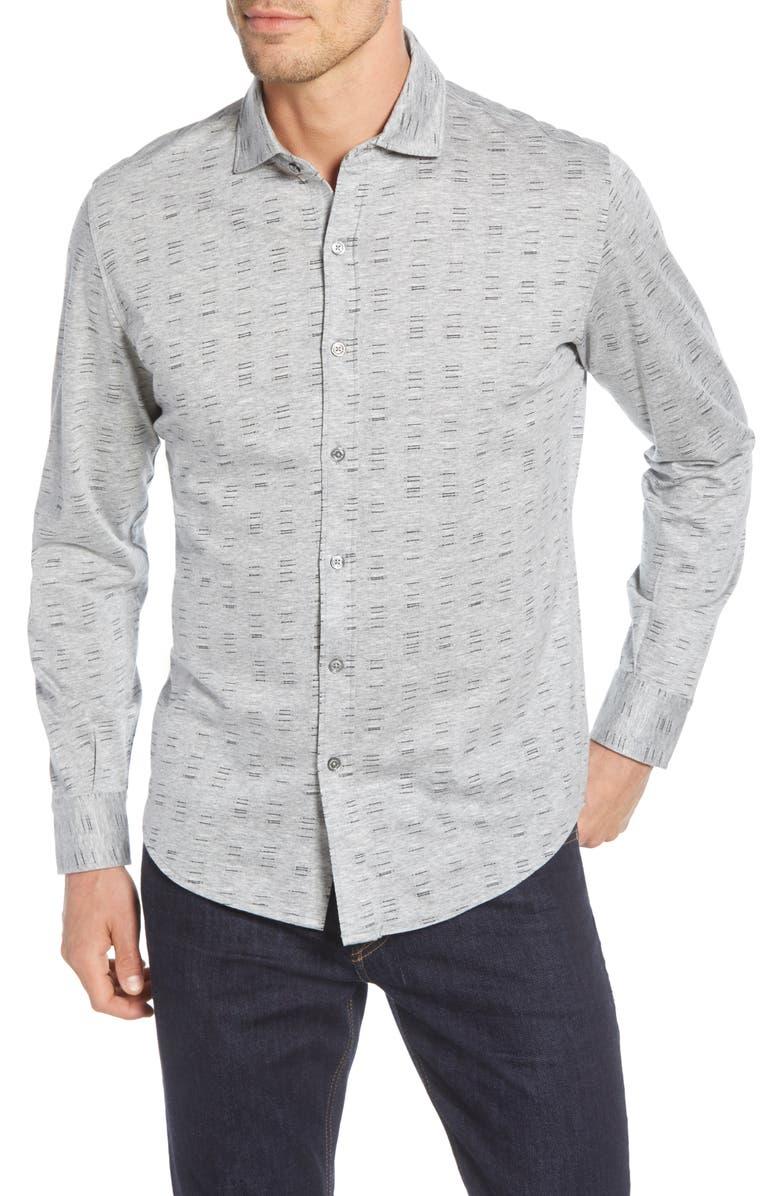 BUGATCHI Regular Fit Button-Up Shirt, Main, color, GRAPHITE