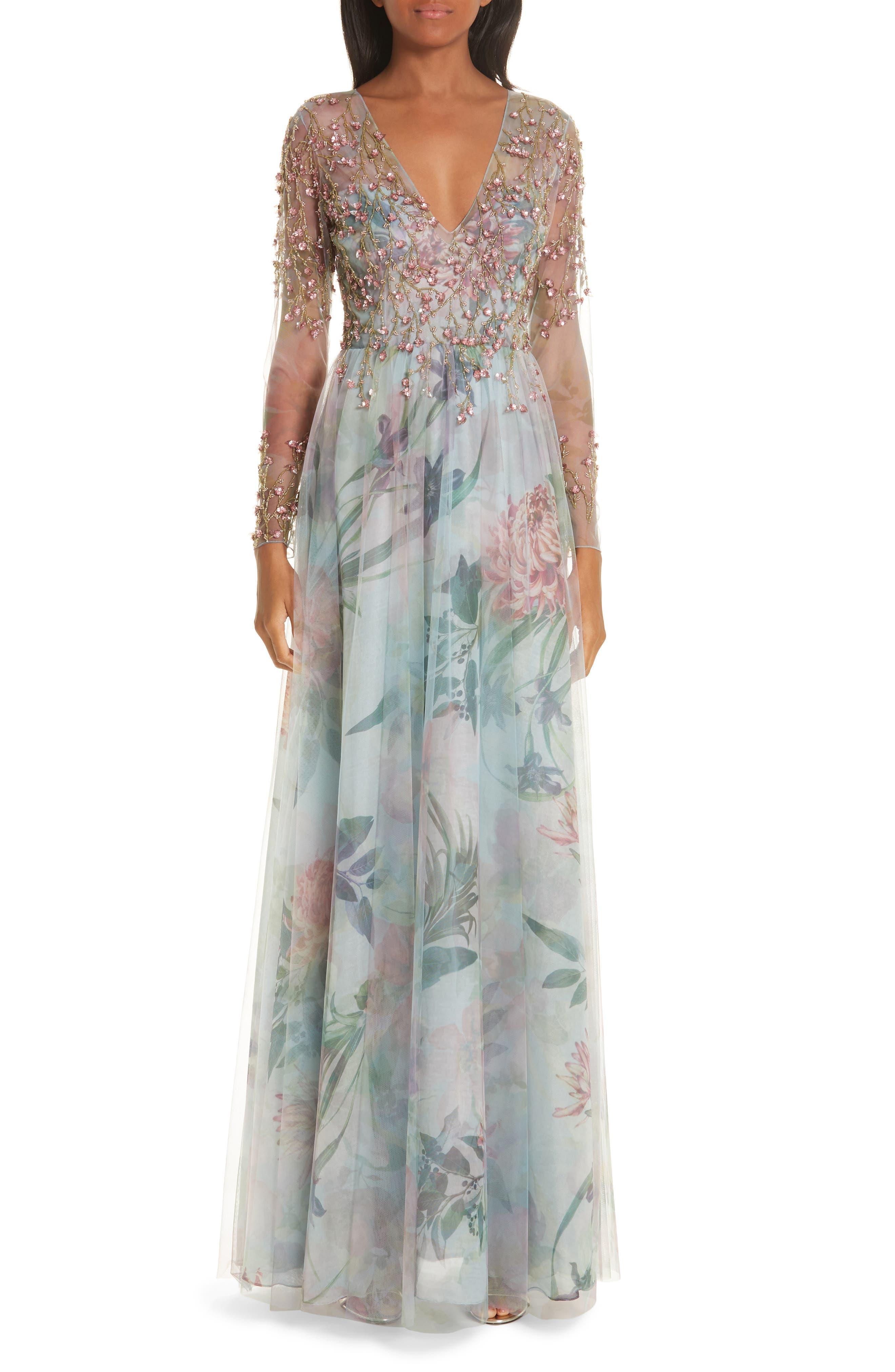 Patbo Beaded Floral Print A-Line Evening Dress, 6 BR - Blue